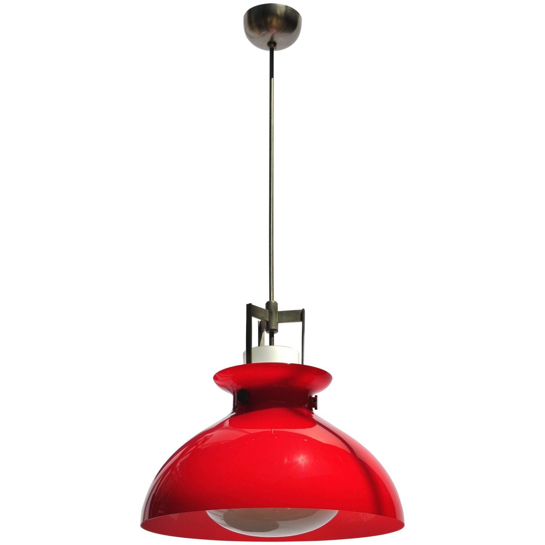 Studio Venini Red Pendant, Murano Italy 1950s Image