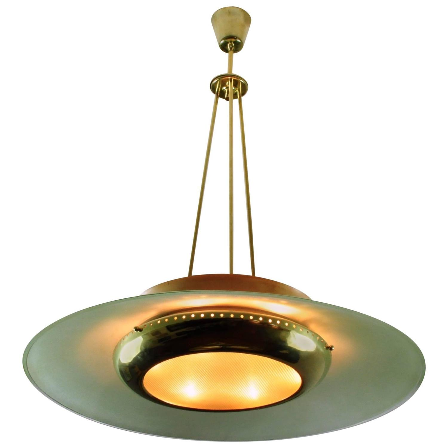 1950s Prism Edge Glass and Brass Ceiling Lamp Image