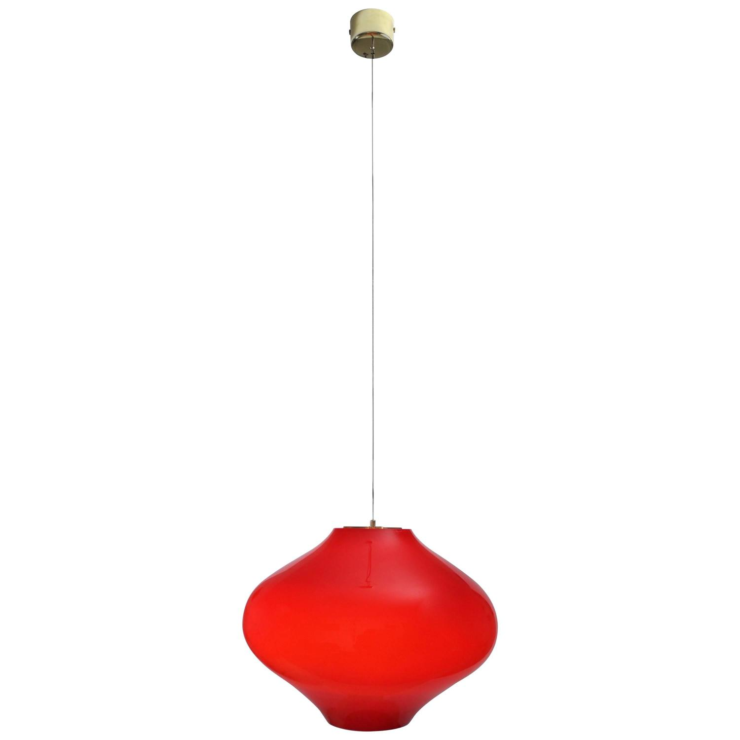 Venini Red Bulbous Shape Pendant Lamp, 1960s Image