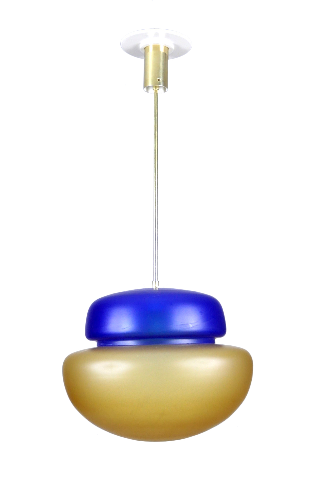 Studio Venini Blue and Yellow Pendant, Murano, Italy, 1960s Image
