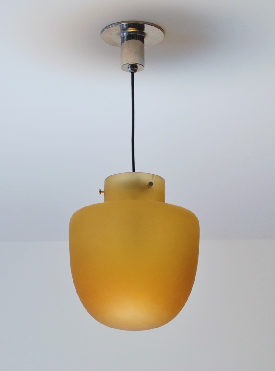 Studio Venini Amber Pendant, Murano Italy 1950s Image
