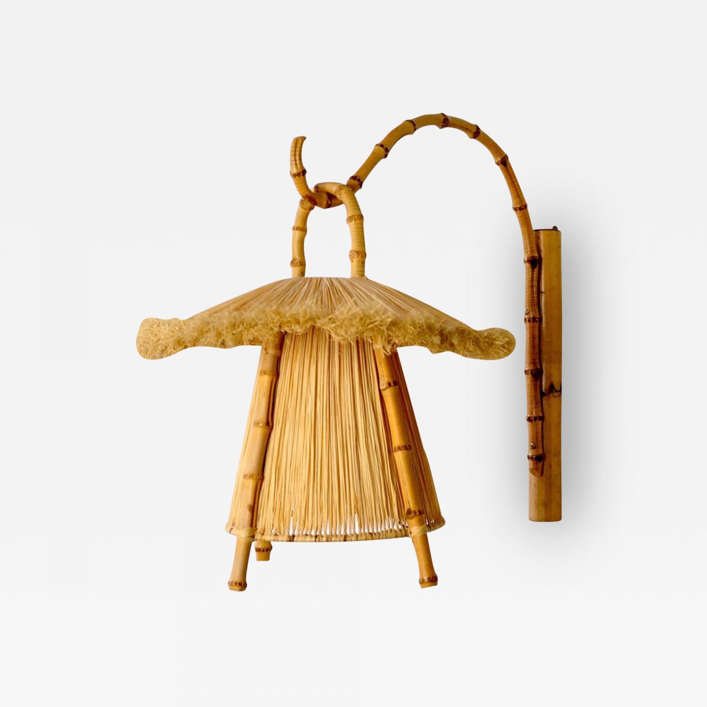 Bamboo and Straw Hanging Lantern Image