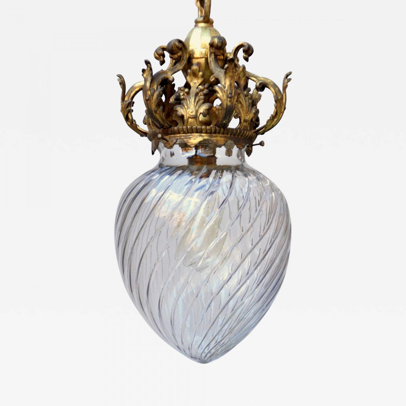 Early 20th c. Cut Crystal Pendant Lamp Image